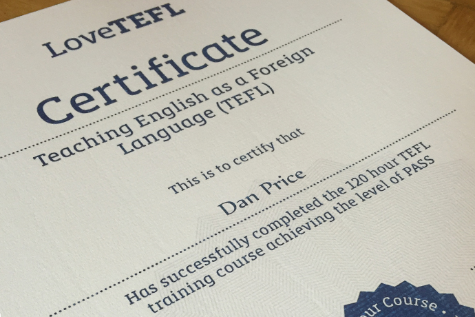 Smash Monotony - LoveTEFL 120-Hour Online Course Review - Certificate